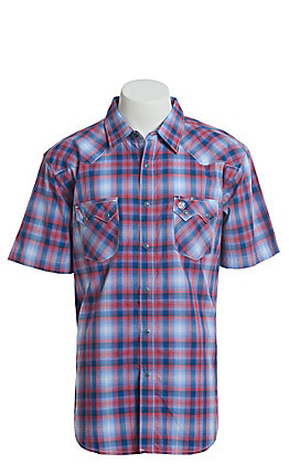 Wrangler Retro Men's Red And Blue Plaid Short Sleeve Western Snap Shirt