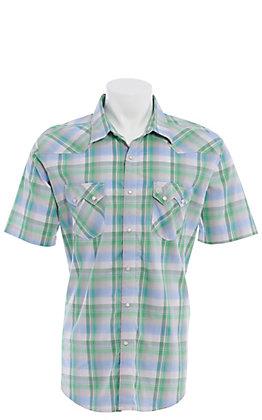 Wrangler Retro Men's Green, Blue and White Plaid Short Sleeve Western Snap Shirt