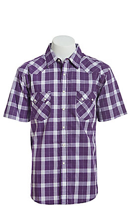 Wrangler Retro Men's Purple And White Plaid Short Sleeve Western Snap Shirt