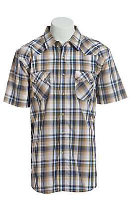 Wrangler Retro Men's Khaki, Brown and Blue Plaid Short Sleeve Western Snap Shirt