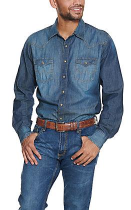 Wrangler Retro Men's Solid Denim Long Sleeve Western Shirt