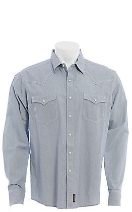 Wrangler Retro Men's Blue Pinstripe Long Sleeve Western Shirt