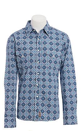 Wrangler Retro Men's Blue Medallion Print Long Sleeve Western Shirt