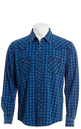 Wrangler Retro Men's Blue Checkered Long Sleeve Western Snap Shirt