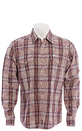 Wrangler Retro Men's Maroon Paisley Print Long Sleeve Western Shirt
