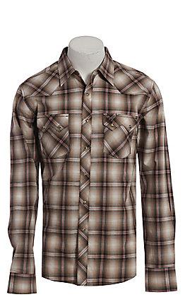 Wrangler Retro Men's Tan Plaid Long Sleeve Western Shirt