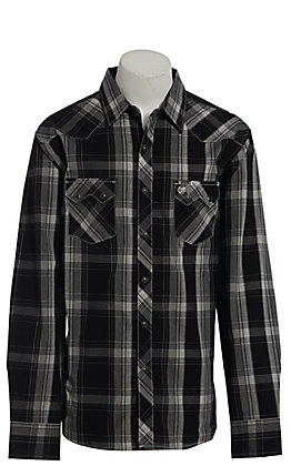 Wrangler Retro Men's Black Plaid Long Sleeve Western Shirt