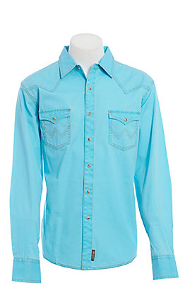 Wrangler Men's Contrast Trim Western Two Snap Flap Pocket  Western Shirt