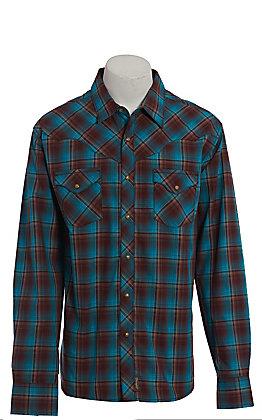Wrangler Retro Premium Men's Turquoise Plaid Long Sleeve Western Shirt