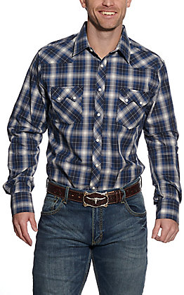 Wrangler Retro Men's Navy Plaid Long Sleeve Western Shirt
