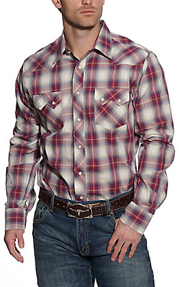 Wrangler Retro Men's Red and Blue Plaid Long Sleeve Western Shirt