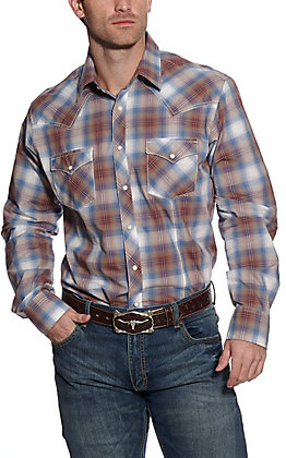 Wrangler Retro Men's Brown and Blue Plaid Long Sleeve Western Shirt