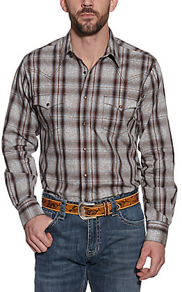 Wrangler Retro Men's Brown and Blue Paisley Plaid Print Long Sleeve Western Shirt
