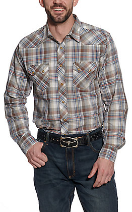 Wrangler Retro Men's Blue & Burgundy Plaid Long Sleeve Western Shirt