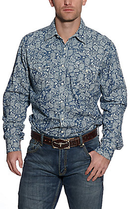Wrangler Retro Men's Denim with White Paisley Print Long Sleeve Western Shirt