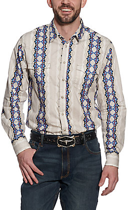Wrangler Retro Men's Cream & Blue Aztec Print Long Sleeve Western Shirt