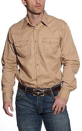 Wrangler Retro Men's Tan Long Sleeve Western Shirt