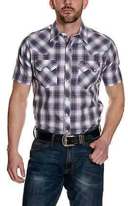 Wrangler Retro Men's Blue & Navy Plaid Short Sleeve Western Shirt