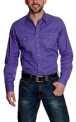 Wrangler Retro Men's Purple with Contrast Stitching Long Sleeve Western Shirt