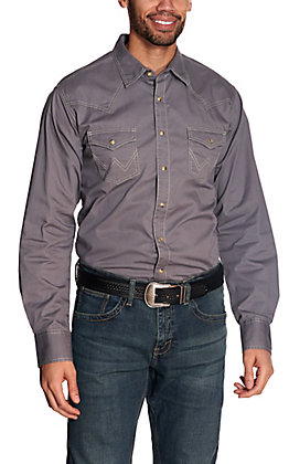 Wrangler Retro Men's Grey Long Sleeve Western Shirt