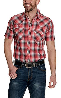 Wrangler Retro Men's Red and Teal Plaid Short Sleeve Western Shirt