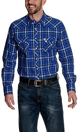 Wrangler Retro Men's Blue & Navy Plaid Long Sleeve Western Shirt
