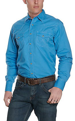 Wrangler Retro Men's Turquoise with Contrast Trim Long Sleeve Western Shirt
