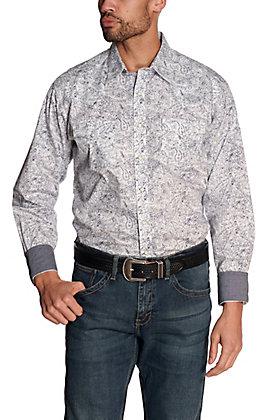 Wrangler Retro Men's White with Navy Paisley Print Long Sleeve Western Shirt