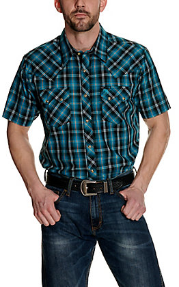 Wrangler Retro Men's Turquoise and Black Plaid Short Sleeve Western Shirt