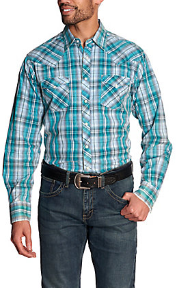 Wrangler Retro Men's Teal & Black Plaid Long Sleeve Western Shirt