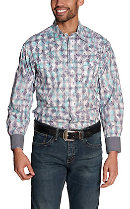 Wrangler Retro Men's White with Blue & Teal Aztec Plaid Long Sleeve Western Shirt