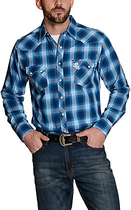 Wrangler Retro Men's Multi Blue Plaid Long Sleeve Western Shirt