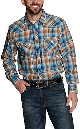Wrangler Retro Men's Tan and Blue Plaid Long Sleeve Western Shirt