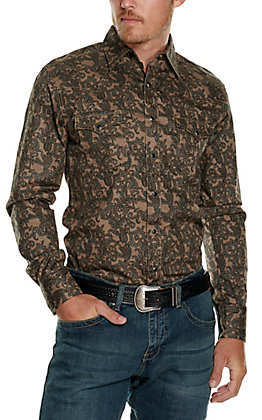 Wrangler Retro Men's Tan with Black Paisley Print Long Sleeve Western Shirt