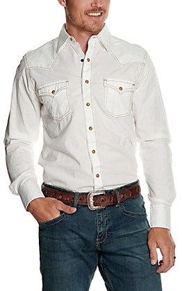 Wrangler Retro Men's White Dobby Long Sleeve Western Shirt