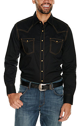 Wrangler Retro Men's Black with Tonal Stripes and Contrast Stitching Long Sleeve Western Shirt