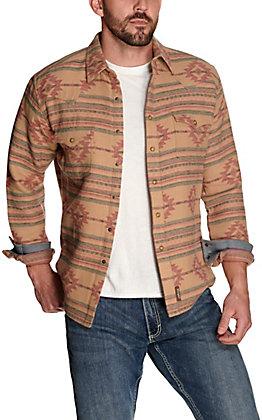 Wrangler Retro Men's Tan with Blue and Red Aztec Print Premium Long Sleeve Shirt