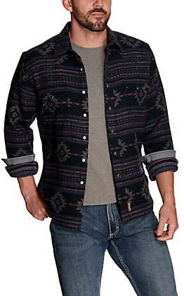 Wrangler Retro Men's Black with Blue and Red Aztec Print Premium Long Sleeve Shirt