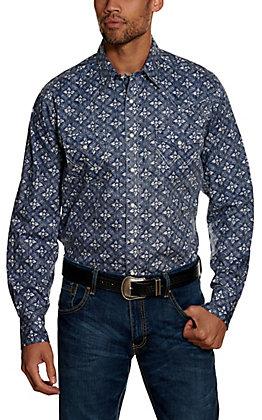 Wrangler Retro Men's Indigo Geo Print Long Sleeve Western Shirt