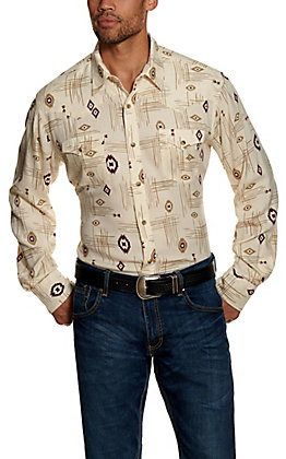 Wrangler Retro Men's Tan Aztec Print Long Sleeve Western Shirt