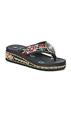 Montana West Women's Bright Color Embroidered Flip Flops