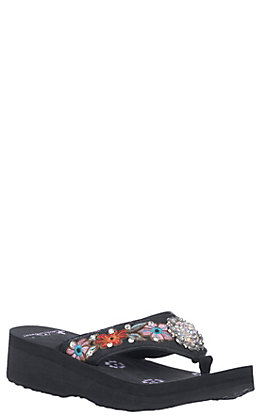Montana West Women's Black with Floral Embroidery & Concho Flip Flops