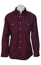 Wrangler Burgundy Twill Long Sleeve Workshirt- Neck & Sleeve Sizes