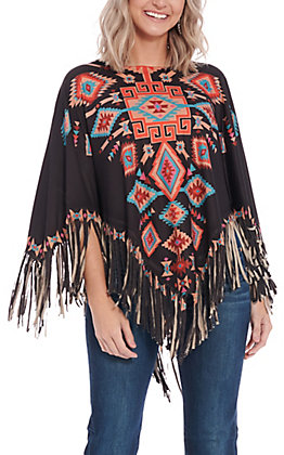Montana West Women's Black Aztec Poncho