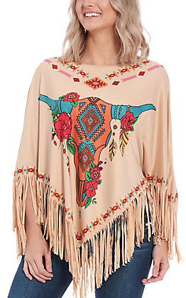 Montana West Women's Tan Steerhead Poncho