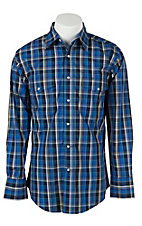 Wrangler Men's Navy and Royal Blue Plaid L/S Western Shirt