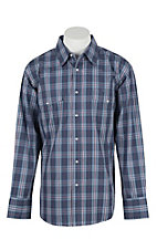 Wrangler Men's L/S Blue, Purple, and Grey Plaid Western Snap Shirt