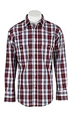 Wrangler Men's L/S Burgundy and White Plaid Western Snap Shirt - Big & Tall