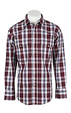 Wrangler Men's L/S Burgundy and White Plaid Western Snap Shirt