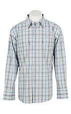 Wrangler Men's L/S White, Grey, and Turquoise Plaid Western Snap Shirt - Big & Tall